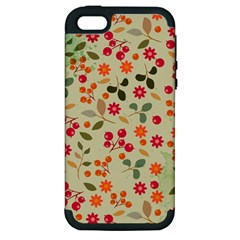 Elegant Floral Seamless Pattern Apple Iphone 5 Hardshell Case (pc+silicone)