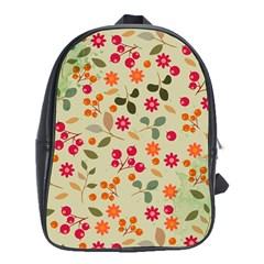 Elegant Floral Seamless Pattern School Bags (XL)