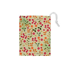 Elegant Floral Seamless Pattern Drawstring Pouches (small)