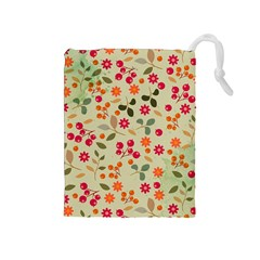 Elegant Floral Seamless Pattern Drawstring Pouches (Medium)