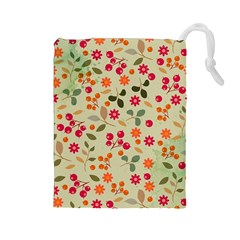 Elegant Floral Seamless Pattern Drawstring Pouches (large)