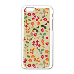 Elegant Floral Seamless Pattern Apple Iphone 6/6s White Enamel Case