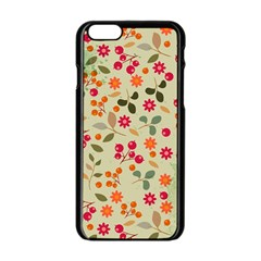 Elegant Floral Seamless Pattern Apple Iphone 6/6s Black Enamel Case