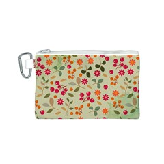 Elegant Floral Seamless Pattern Canvas Cosmetic Bag (S)