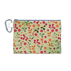 Elegant Floral Seamless Pattern Canvas Cosmetic Bag (M)