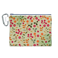 Elegant Floral Seamless Pattern Canvas Cosmetic Bag (L)