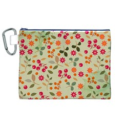 Elegant Floral Seamless Pattern Canvas Cosmetic Bag (xl)