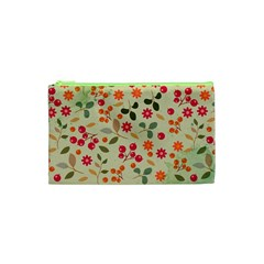 Elegant Floral Seamless Pattern Cosmetic Bag (XS)