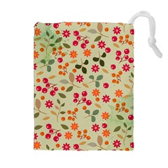 Elegant Floral Seamless Pattern Drawstring Pouches (Extra Large)