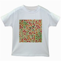Elegant Floral Seamless Pattern Kids White T Shirts