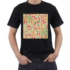 Elegant Floral Seamless Pattern Men s T-Shirt (Black) (Two Sided)