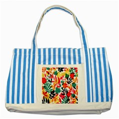 Seamless Autumn Leaves Pattern  Striped Blue Tote Bag