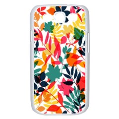 Seamless Autumn Leaves Pattern  Samsung Galaxy S III Case (White)