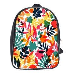 Seamless Autumn Leaves Pattern  School Bags (XL)