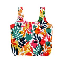 Seamless Autumn Leaves Pattern  Full Print Recycle Bags (M)