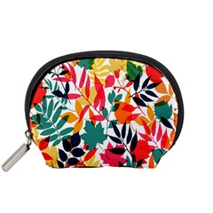 Seamless Autumn Leaves Pattern  Accessory Pouches (Small)
