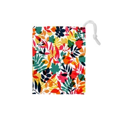 Seamless Autumn Leaves Pattern  Drawstring Pouches (small)