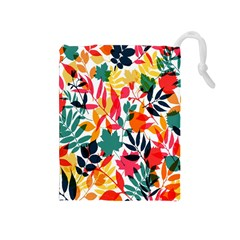 Seamless Autumn Leaves Pattern  Drawstring Pouches (Medium)