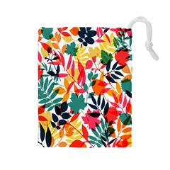Seamless Autumn Leaves Pattern  Drawstring Pouches (large)