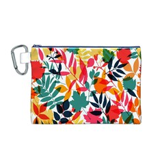 Seamless Autumn Leaves Pattern  Canvas Cosmetic Bag (M)