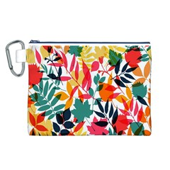Seamless Autumn Leaves Pattern  Canvas Cosmetic Bag (L)