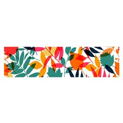 Seamless Autumn Leaves Pattern  Satin Scarf (oblong)