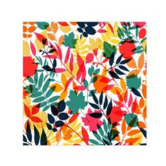 Seamless Autumn Leaves Pattern  Small Satin Scarf (square)