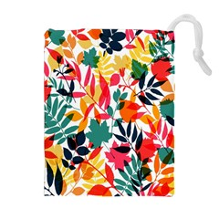 Seamless Autumn Leaves Pattern  Drawstring Pouches (Extra Large)
