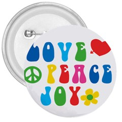 Love Peace And Joy  3  Buttons
