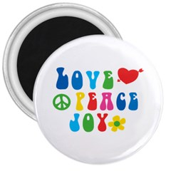 Love Peace And Joy Signs 3  Button Magnet