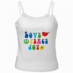 Love Peace And Joy  White Spaghetti Tank