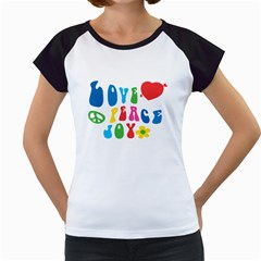 Love Peace And Joy  Women s Cap Sleeve T