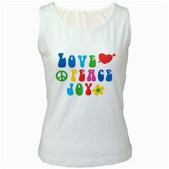 Love Peace And Joy  Women s White Tank Top