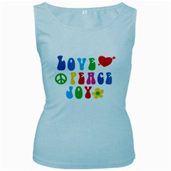 Love Peace And Joy  Women s Baby Blue Tank Top