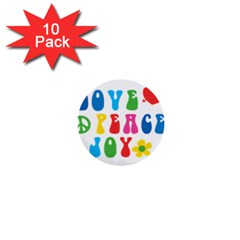 Love Peace And Joy  1  Mini Buttons (10 Pack)