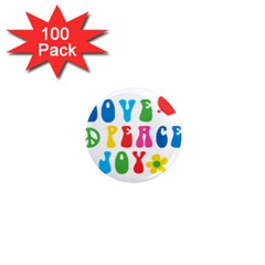 Love Peace And Joy  1  Mini Magnets (100 Pack)