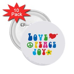 Love Peace And Joy Signs  2 25  Button (10 Pack)