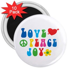 Love Peace And Joy  3  Magnets (10 Pack)