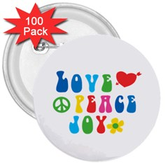 Love Peace And Joy Signs  3  Button (100 pack)