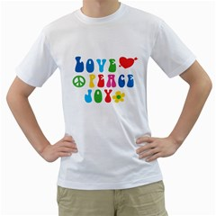 Love Peace And Joy  Men s T Shirt (white) (two Sided)