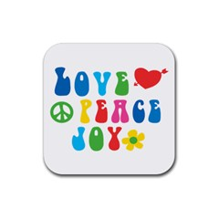 Love Peace And Joy  Rubber Square Coaster (4 pack)