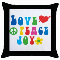 Love Peace And Joy  Throw Pillow Case (black)