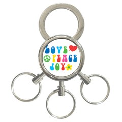 Love Peace And Joy  3-Ring Key Chains