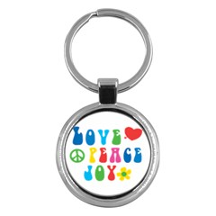 Love Peace And Joy  Key Chains (round)