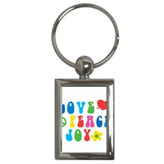 Love Peace And Joy  Key Chains (Rectangle)