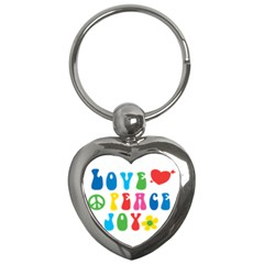 Love Peace And Joy  Key Chains (Heart)