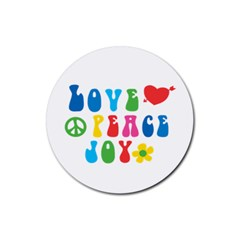 Love Peace And Joy  Rubber Coaster (round)