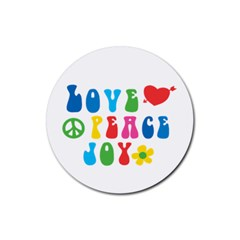 Love Peace And Joy  Rubber Round Coaster (4 Pack)