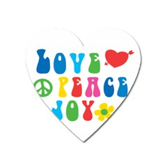 Love Peace And Joy  Heart Magnet