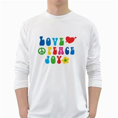 Love Peace And Joy  White Long Sleeve T Shirts